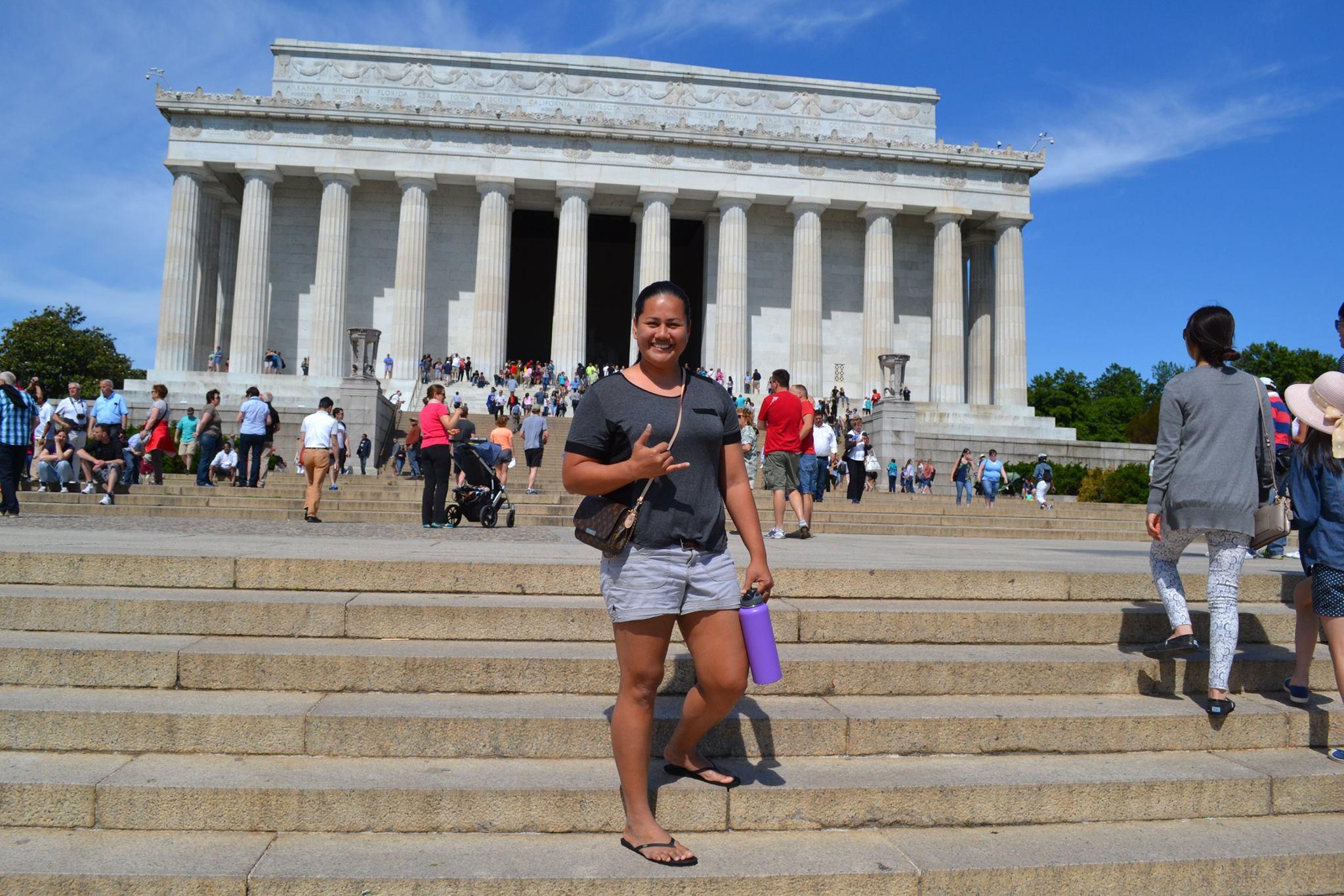 Pelenatete Leilua standing in front of the Lincoln Memorial, Washington, D.C.