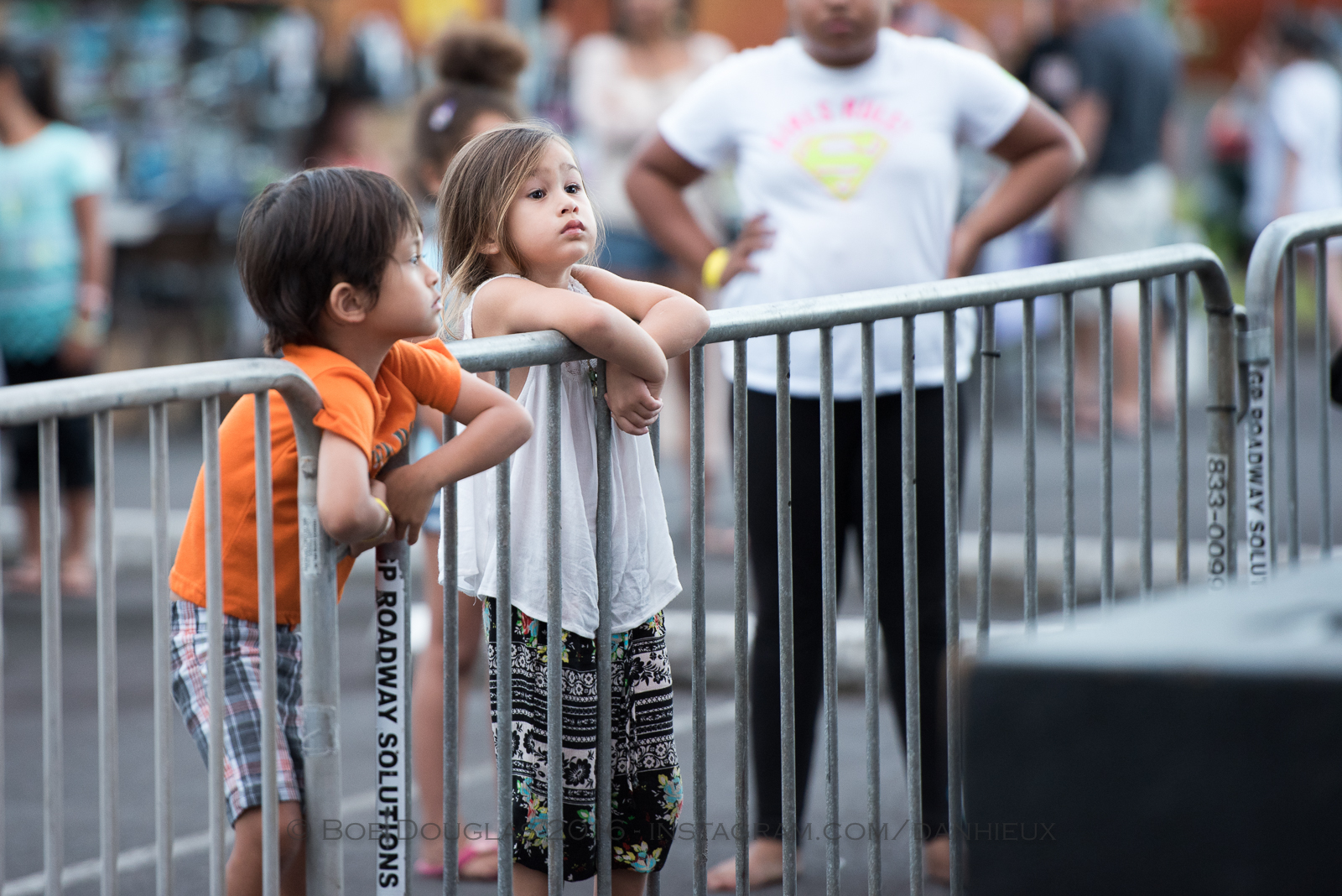 Kids watching stage.