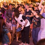 People in the audience dancing.