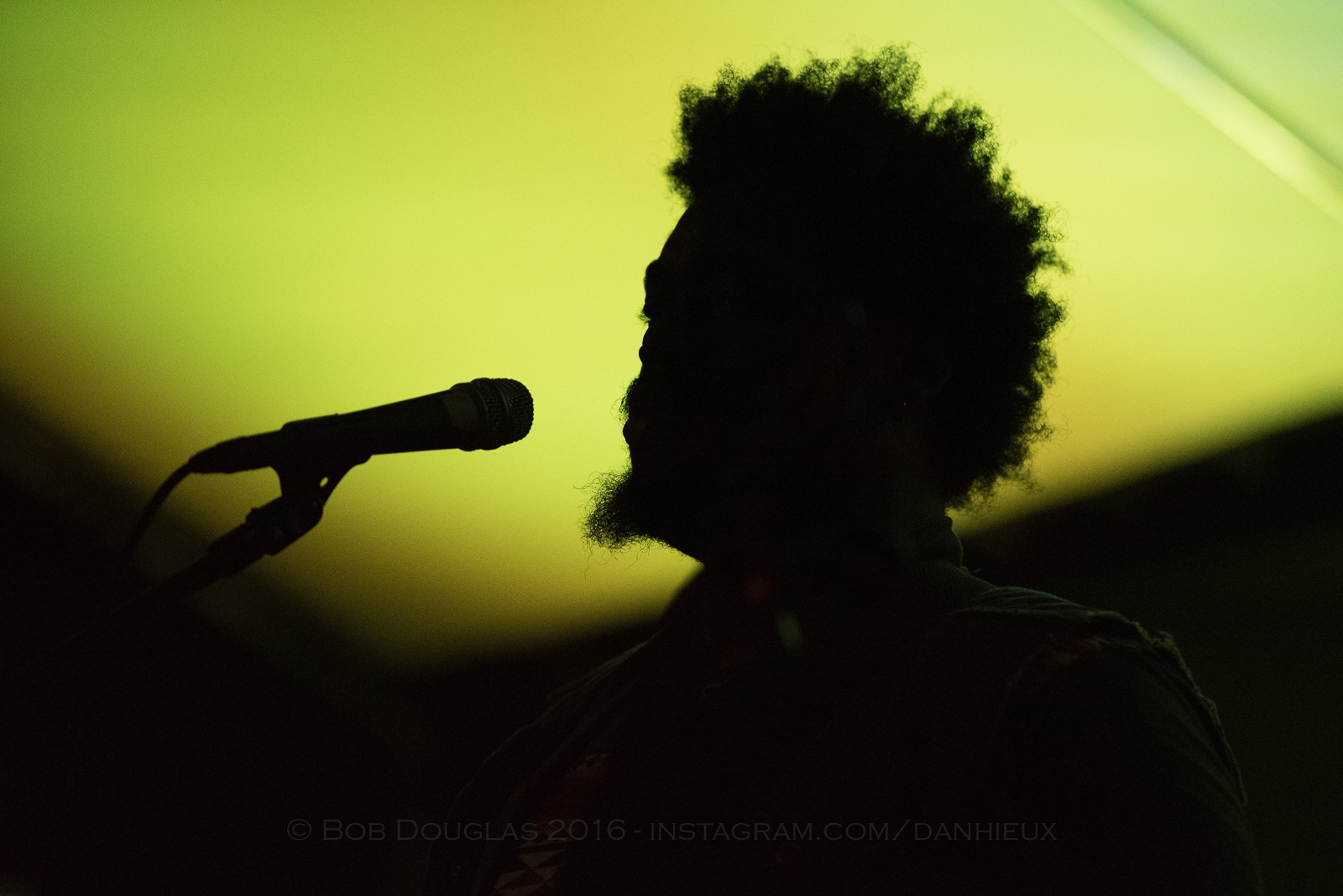 Silhouette of performer on stage.