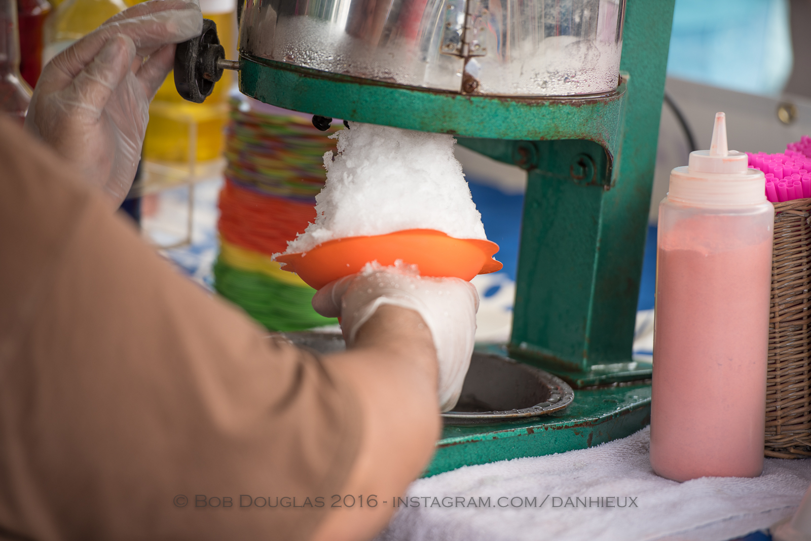 Making shave ice.