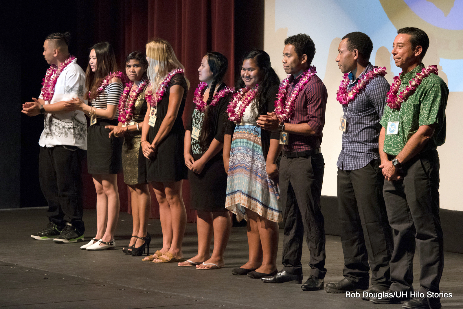Students lined up on stage for acknowledgement