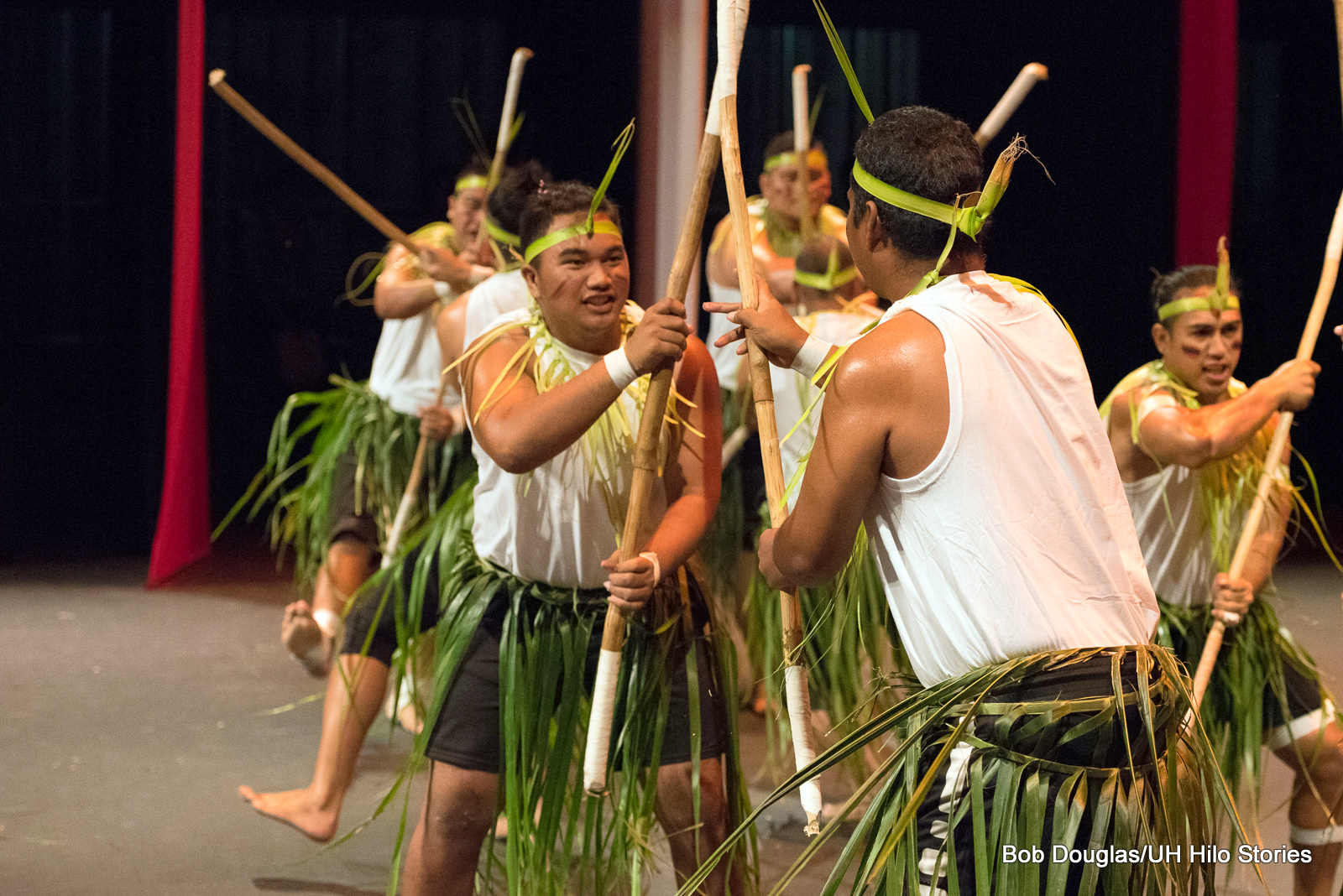 Group of men, green ti skirts, white shirts, holding long poles, some low, some high, leaping in air to hit each other's poles.