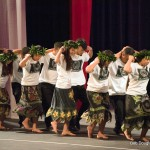 Dancers in pairs, women with colorful skirts and green leaf headdresses,.