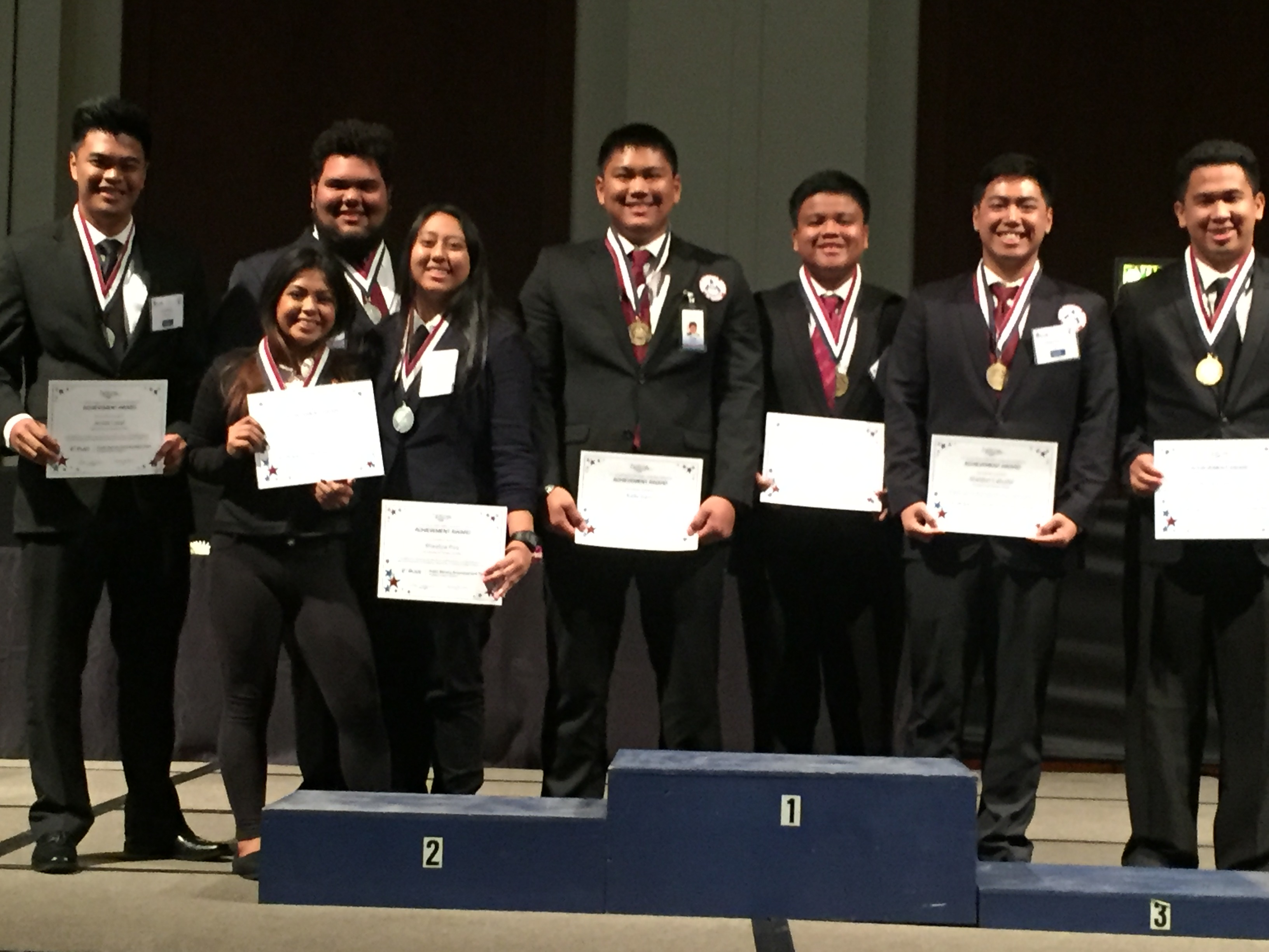 UH Hilo HOSA Team, eight students standing for group photo.