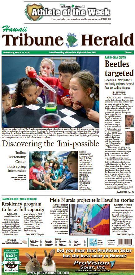 Front page of Hawaii Tribune Herald.