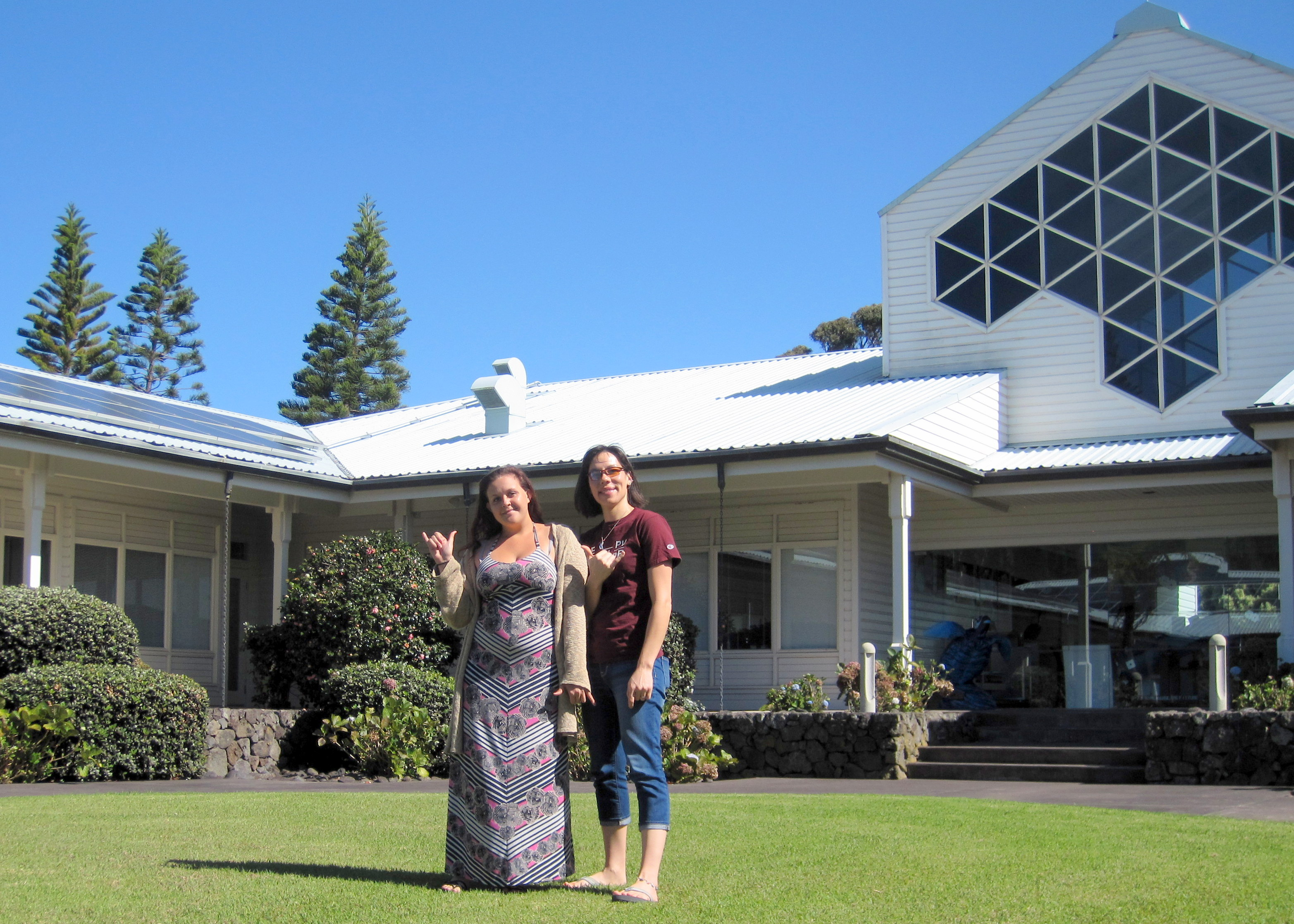 Jasmin and Kathy with Keck HQ in background.