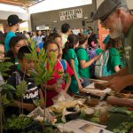 School children visiting Earth Day booths.