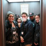 Students in elevator.