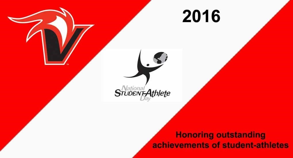 Banner type design red and white with the words: 2016 National Student Athlete Day, Honoring outstanding achievements of student-athletes. UH Hilo Vulcan logo.