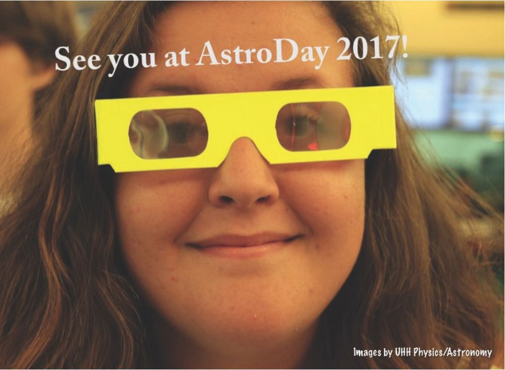 """Girl with 3D glasses and the words """"See you at AstroDay 2017!"""""""