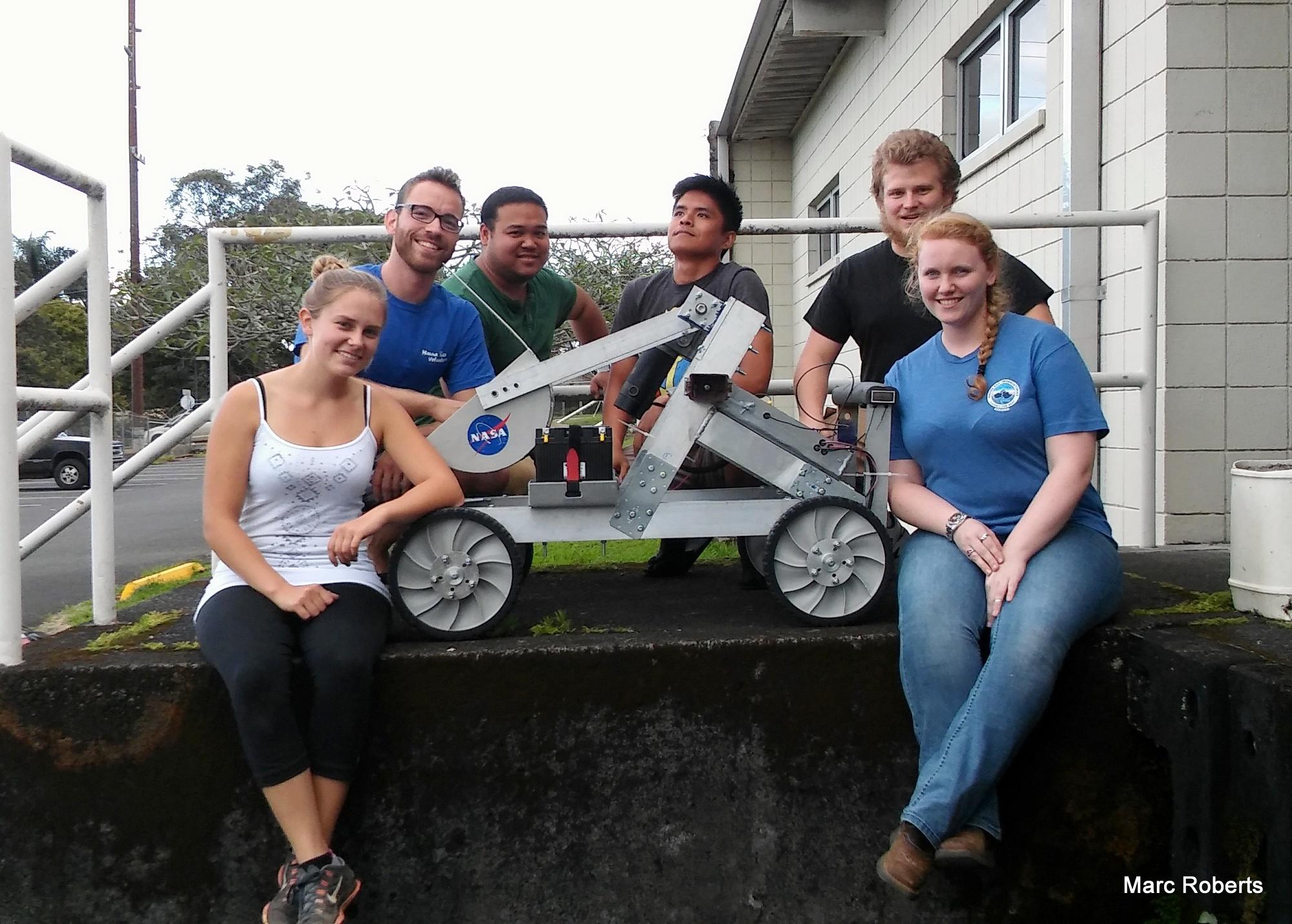 Robotics team with the robot.