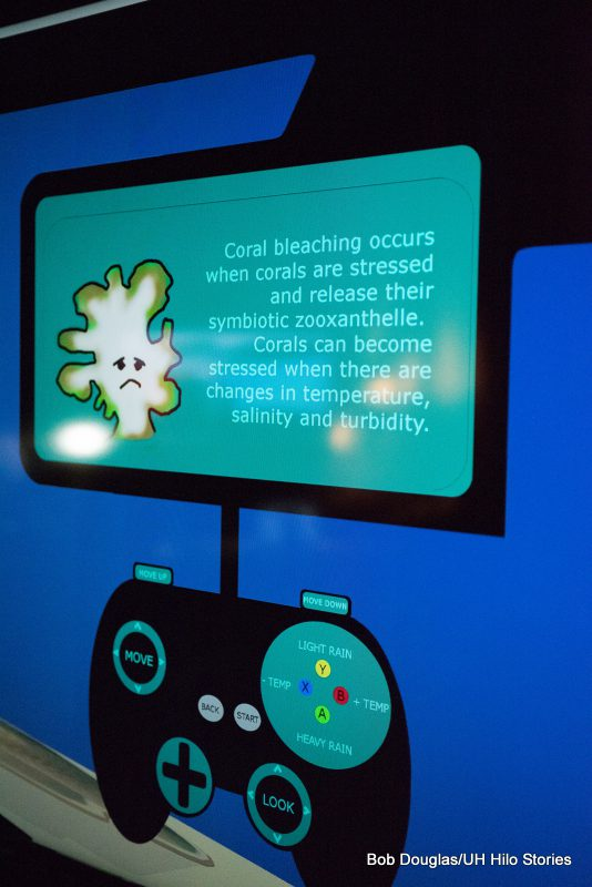 Screen shot of one screen on coral project. Info includes graphics and description on coral bleaching.