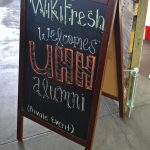 Sign about food vendor WikiFresh.
