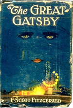 Book cover The Great Gatsby, F. Scott Fitzgerald. Blue, disembodied yellow eyes.