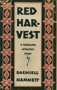 Book cover Red Harvest, A Thrilling Detective Story by Dashiell Hammett. Orange and black pattern.