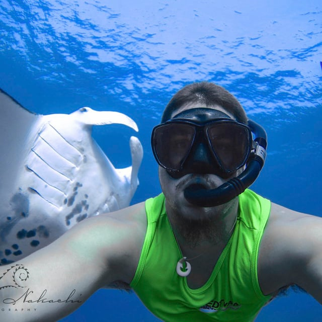 Kaikea Nakachi underwater diving with a sting ray in background.
