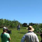 Film crew in field.