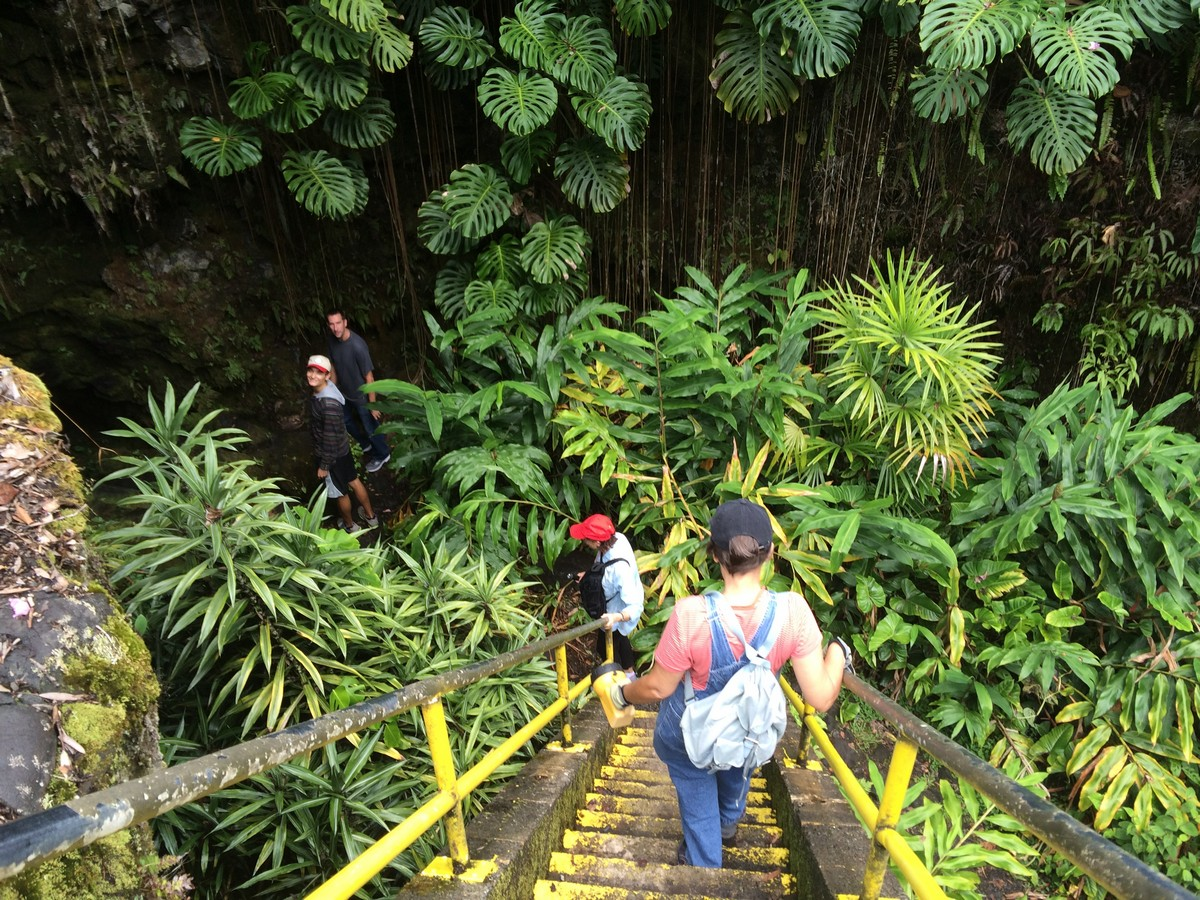 Students walking down staircase into cave.
