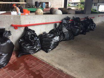 Pile of garbage bags full of rubbish.