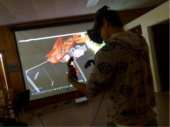 Cullen Mandrayar working with VR drawing tools.