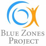"Blue Zones Project logo, swirling blue lines and figure of a person with the words ""Blue Zones Project."""