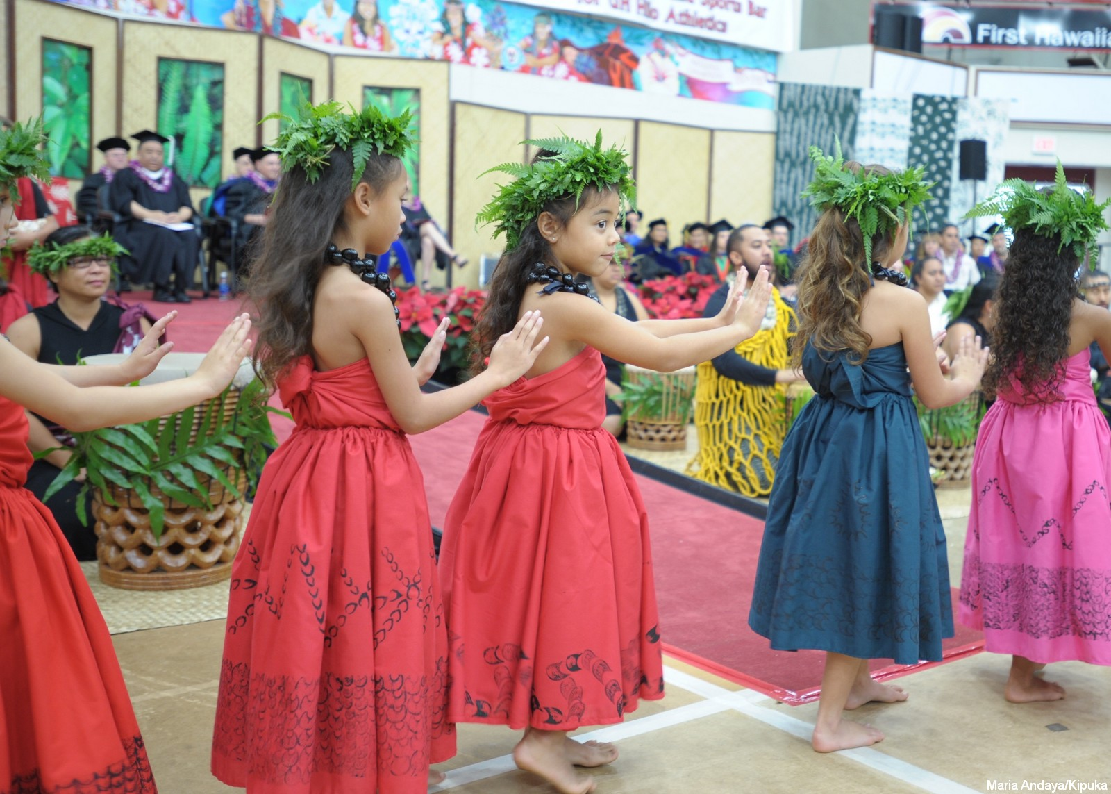 Keiki dancing at Commencement-- they are in red and blue dresses with kapa print, hands gesturing, fern head leis. Pahu drummer and university officials sit on dais in background.