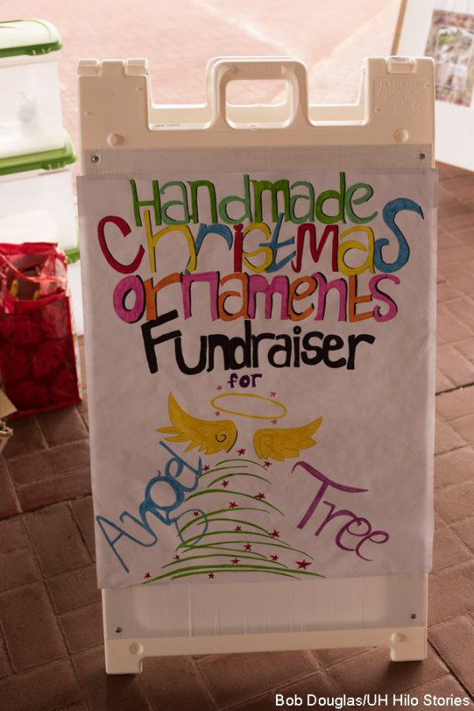 Sign for the Handmade Christmas Ornament Fundraiser.