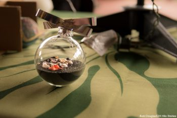 A glass ornament filled with sand.