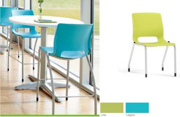 Blue and green cafe chairs and white tables that will be added to the dining room at a future date.