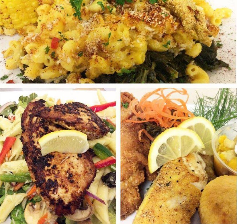 Three photos of food.