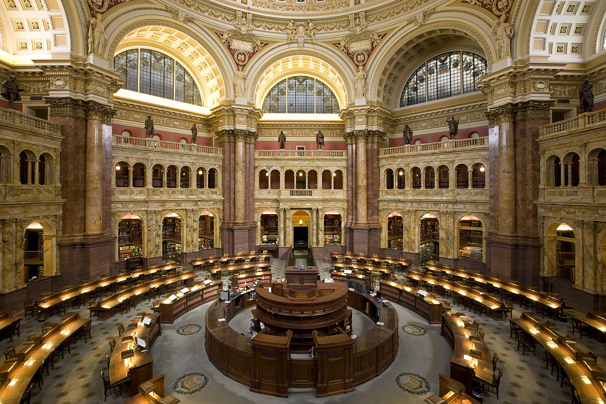 Huge golden gallery at the Library of Congress.
