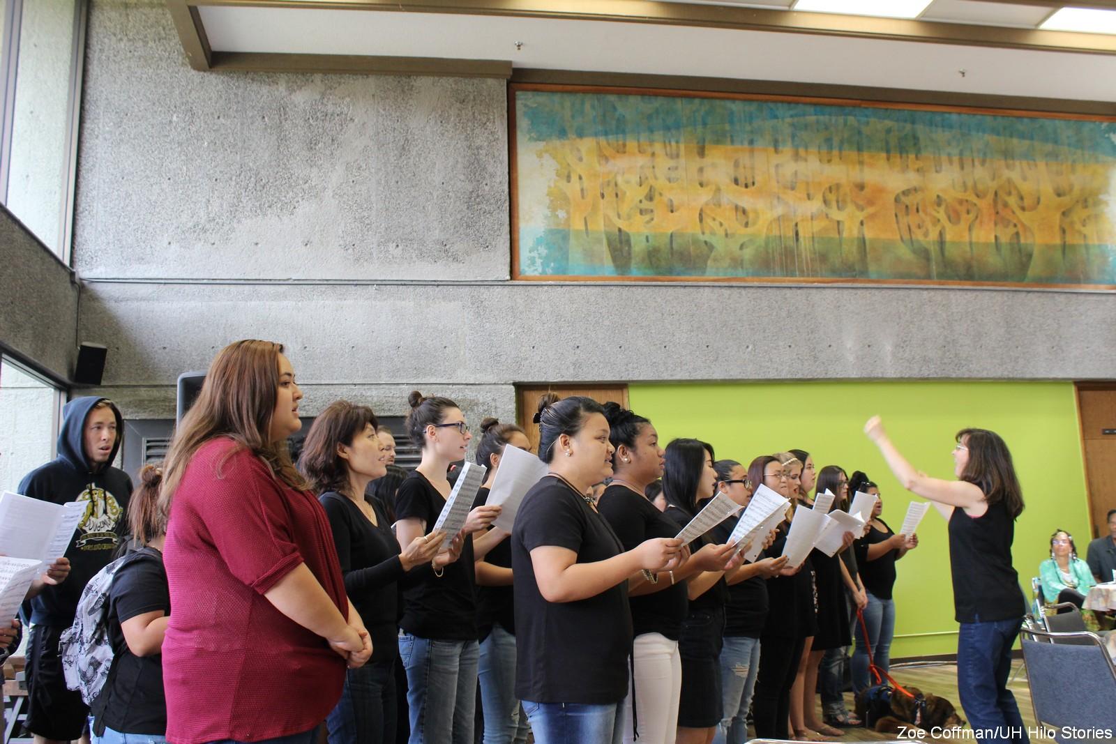 Choir sings at event.