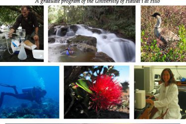 "Poster collage of natural landscapes found around Hawaii Island-- diving, nene, waterfalls, volcano, flora and fauna. With the words, "" TCBES Tropical Conservation Biology and Environmental Science, a graduate program of the University of Hawaii at Hilo."