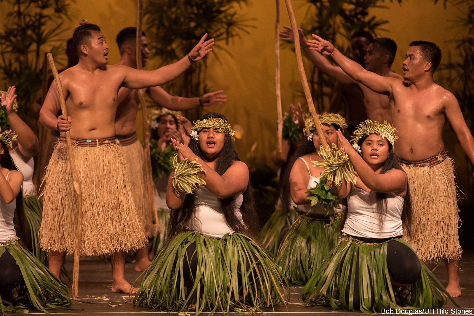 Group of male and female dancers in botanical skirts and headdresses, men are tossing sticks between themselves.