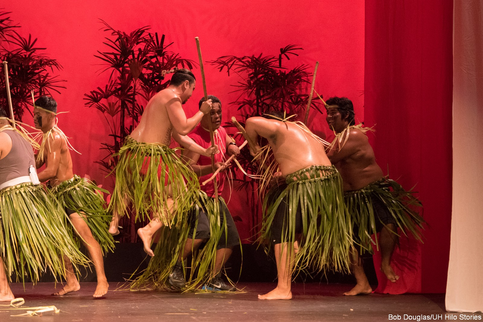 Male dancers in leaf skirts holding long sticks.