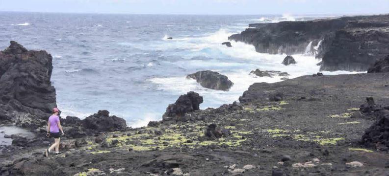 Bethany Morrison walks the rocky coast.
