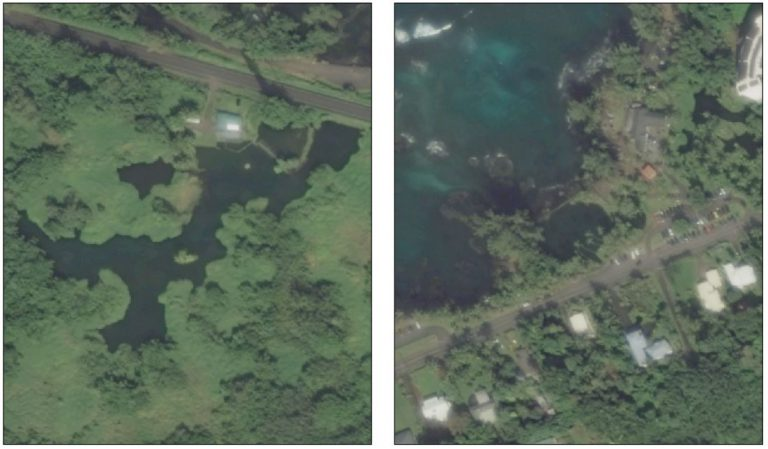 Aerials of two fishponds