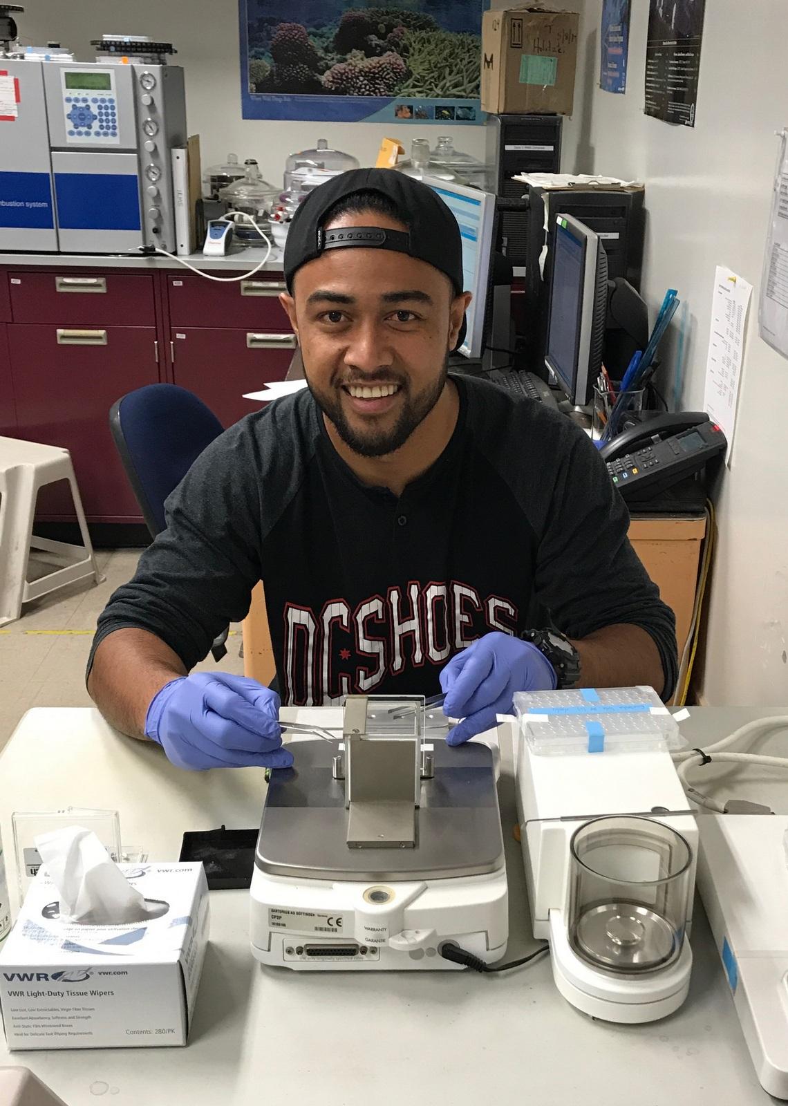 Bryan Tonga in lab