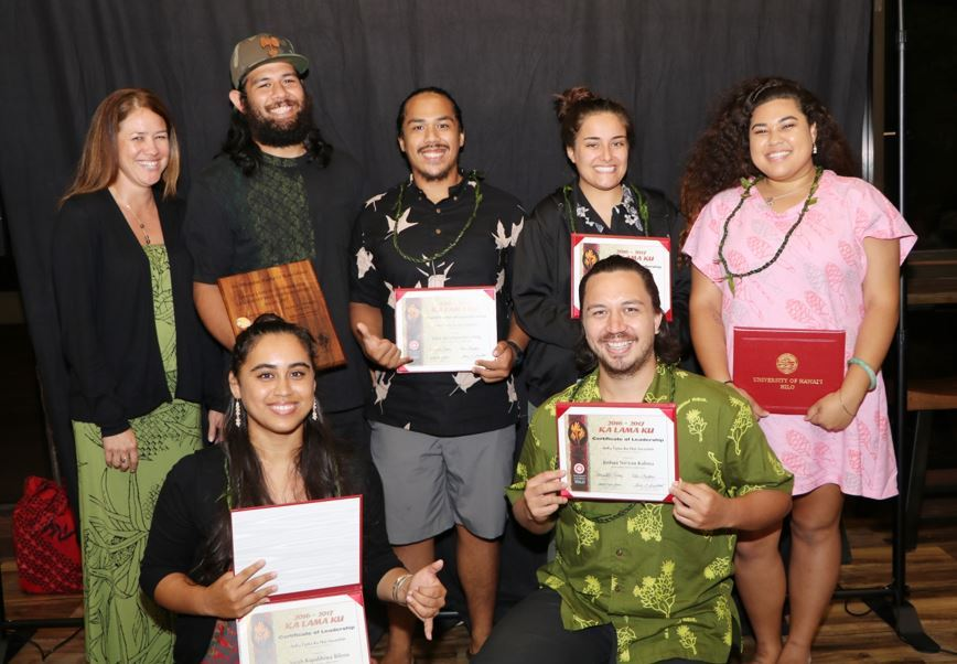 The students of Nā Haumāna Huaka'i i Kaho'olawe, some holding certificates they just received.