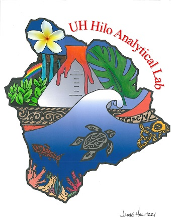 Lab logo of island with designs of honu, water, coral, leaves, lava, plumeria. Words: UH Hilo Analytical Lab in red at top. Signature of artist: Jamie Holitzki.