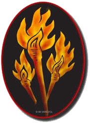 Logo with torches, orange on black oval