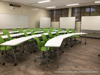 Curved set up for green seats with more opportunity for students to interact.
