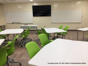 Large LED screen on wall. Desk with green chairs arranged in groupings.