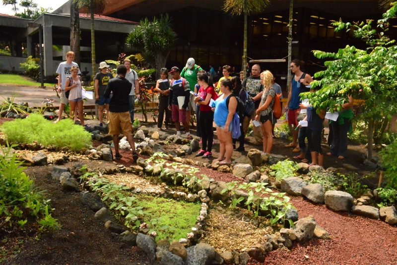 Students in garden listen to speaker.