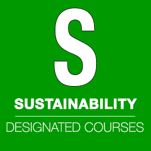 "Green graphic with the words ""S Sustainability Designated Courses."