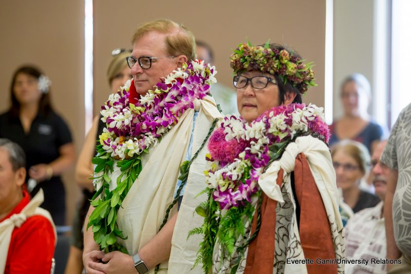 Don Straney and Marcia Sakai in lei.