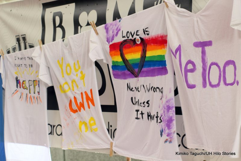Painted shirts with messages.
