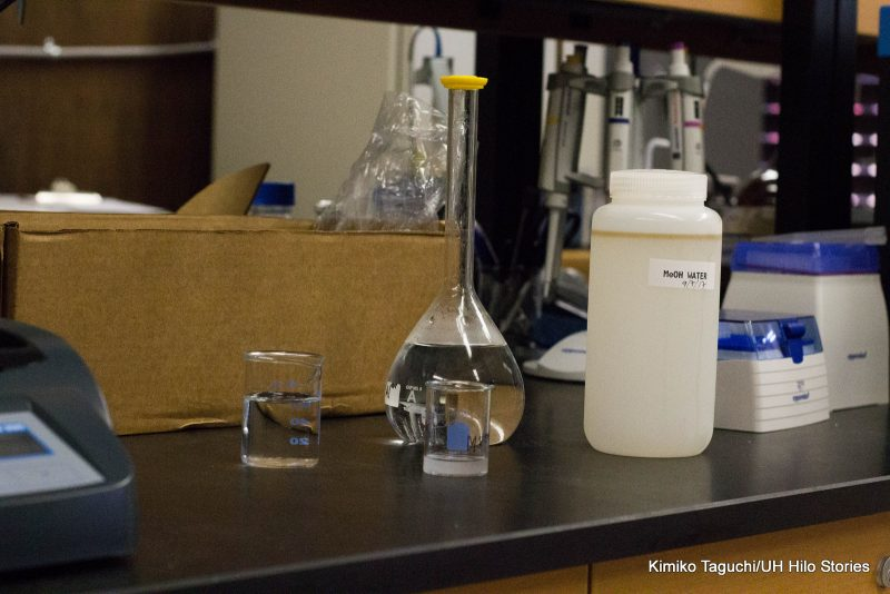 Clear procssed water in a flask in the lab.