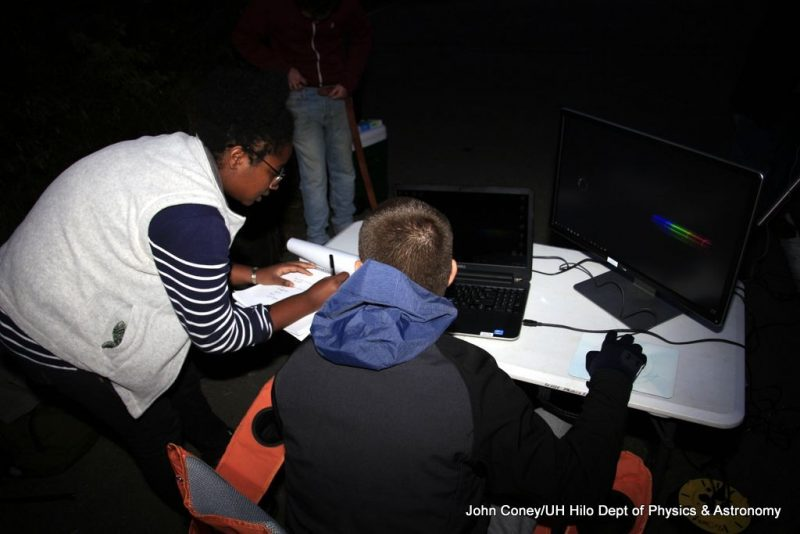 Two students at the laptop used to record images from telescope